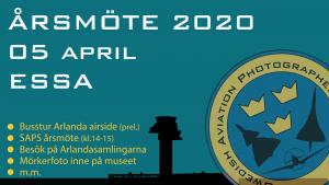 SAPS Årsmöte 2020 vid Arlanda den 5 april